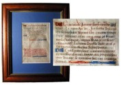 "World Coins - Framed Vellum ""Book of Hours"" Page.  France, XV Century.  Vellum page from ""Book of Hours"" prayer book with red, blue and gold capital letters and decoration.  Page: 3.5 x 5""."