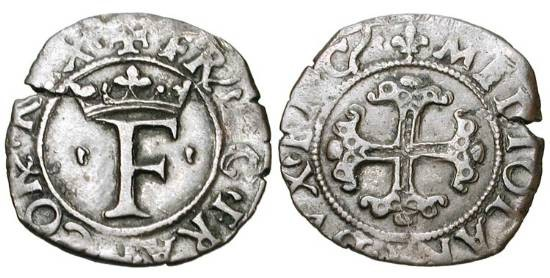 World Coins - ITALY, Milan.  French Occupation under Francois I,1515-1521 AD.  Billon Trillina (1.01 gm).  Crowned F / Floreate cross.  DuP.961.  CNI.23.  Crippa.5.  Toned VF+
