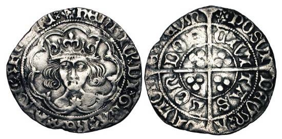 World Coins - ENGLAND.  Henry VII, 1485-1509 AD.  AR Groat , cl. I of London, i.m. Lis-upon-Rose.  Crowned bust facing with rose on breast in tressure / Long cross.  S.2193.  Toned VF.   …