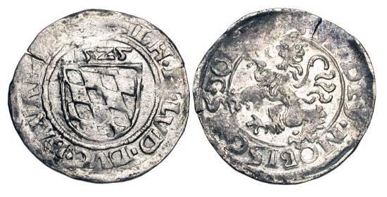 World Coins - GERMANY, BAVARIA.  Wilhelm IV and Ludwig X, 1516-1545 AD.  AR Half Batzen (1.25 gm), 16295AD.  Shield of arms / Orb.  Hahn.22.  Toned VF.