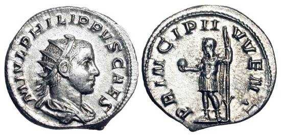 Ancient Coins - PHILIP II, 247-249 AD.  AR Antoninianus (4.19 gm), as Caesar, 244-247 AD.  Radiate draped bust / Philip standing holding orb and spear.  RSC.48.  Mint