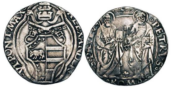 World Coins - ITALY, Papal States.  Alexander VI Borgia, 1492-1503 AD.  AR Grosso of Rome.  Tiara and keys over shield of arms / Sts. Peter and Paul standing with attributes.  VF, clipped.  …