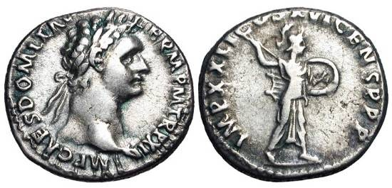 Ancient Coins - DOMITIAN, 81-96 AD.  AR Denarius (3.57 gm) of Rome, 92-3 .  Laureate head / Minerva advancing with javelin and shield.  RIC.171.  VF.