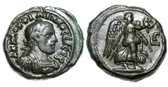 Ancient Coins - ROMAN EGYPT.  Philip I, 244-249 AD.  Billon Tetradrachm (12.80 gm) of Alexandria.  Laureate bust right / Nike advancing right.  Curtis.1352.  VF+.