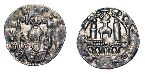 World Coins - GERMANY, Köln.  Philip I von Heinsberg, 1167-1191 AD.  AR Denier (1.38 gm).  Philip seated with crozier and standard / Cathedral.  Bonh.1582.  Toned aXF, usual weak spots.