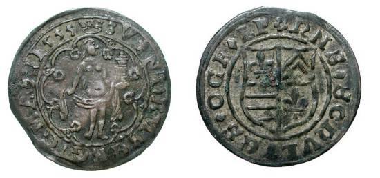 "World Coins - GERMANY, Nürnberg.  1535-1584 AD.  Æ Jeton (3.31 gm), 1555, Hans Schultes.  ""Venus"" standing holding cup / Shield of arms.  M.1318v.  VF+, brown black patina."