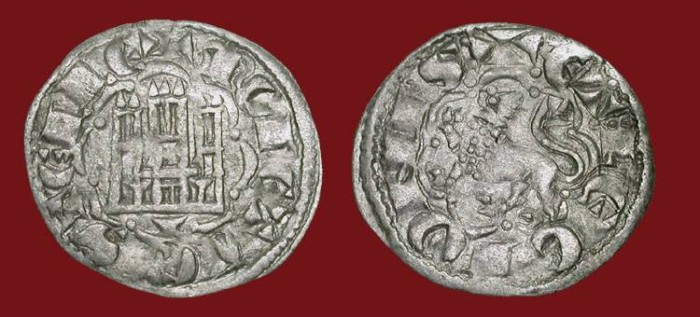 World Coins - SPAIN, Castille and Leon. Alfonso X the Wise, 1252 -1284 AD.  AR Noven of Cuenca.  Castle / Lion. XF.