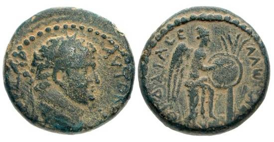 Ancient Coins - JUDAEA, Caesarea.  Titus, 79-81 AD.  Æ20.  Laureate head / Victory with foot on a helmet, enscribing a shield hung on a palm tree.  Hen.743.  AJC.2.  VF+, olive brown patina.