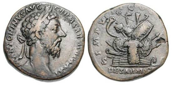 "Ancient Coins - MARCUS AURELIUS, 161-180 AD.  Æ Sestertius (23.17 gm), of 176-7 AD.  Laureate head /  Pile of arms ""De Sarmatis"".  RIC.1190.  VF, brown patina."