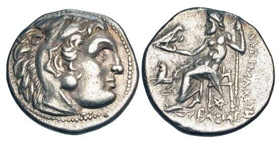 Ancient Coins - Kingdom of THRACE.  Lysimachos, 323-281 BC.  AR Drachm (4.17 gm) of Kolophon.  Head of Herakles in lion-skin headdress / Zeus enthroned.  Thom.126.  Price.L26.  Toned aXF