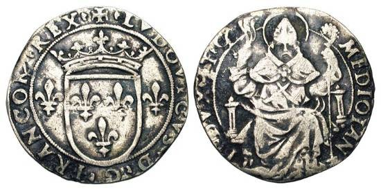 World Coins - ITALIAN STATES.  MILAN.  Louis XII of France, 1499-1512 AD.  AR Grosso da 6 Soldi (3.56 gm).  Crowned arms of France / St. Ambrose seated.  N&V.230  Cr.6. C.1010.  Toned VF.  Rare.