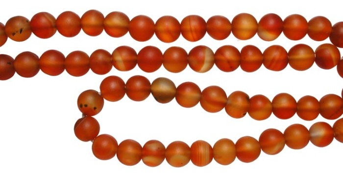 "Ancient Coins - Orange Hardstone Bead Necklace.  Islamic, XII Century AD.  Orange hardstone bead necklace of spherical beads.  17"" long on oversized knotted string.   Attractive and wearable."