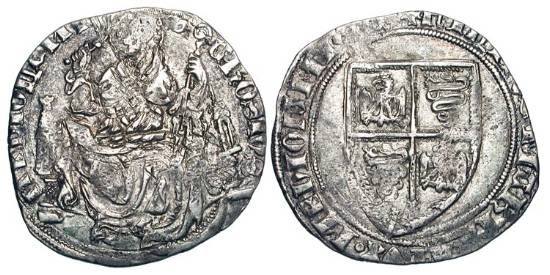 World Coins - ITALY, Milan.  Filippo Maria Visconti, 1412-1447 AD.  AR Grosso da 2 Soldi.  Shield of arms / St. Ambrose enthroned facing holding whip and crosier.  Bi.1501.  Cr.3A.   Toned VF