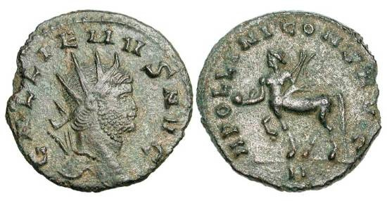 Ancient Coins - GALLIENUS, 253-268 AD.  Æ Antoninianus (3.39 gm).  Radiate head / Centaur standing holding globe and trophy.  RIC.164.  aXF, attractive green and red patina.  Scarce.
