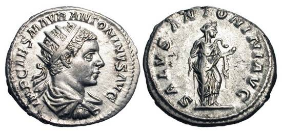 Ancient Coins - ELAGABALUS, 218-222 AD.  AR Antoninianus (4.75 gm), Rome.  Radiate draped bust / Salus standing feeding serpent.  RIC.138.  Toned XF+.