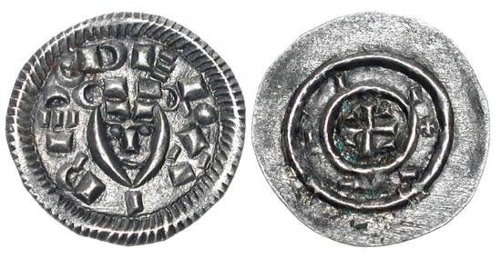 World Coins - HUNGARY.  Bela II, 1131-1141 AD.  AR Denar (0.35 gm).  Crude head facing / Cross with pellets in circle.  H.50.  Toned XF.