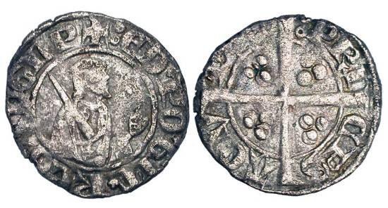 World Coins - ANGLO-GALLIC.  Edward the Black Prince, 1362-1372 AD.  AR Sterling, 2nd issue, Poitiers.  Half-length figure of prince holding sword / Long cross.  E.194c.  Toned aVF.