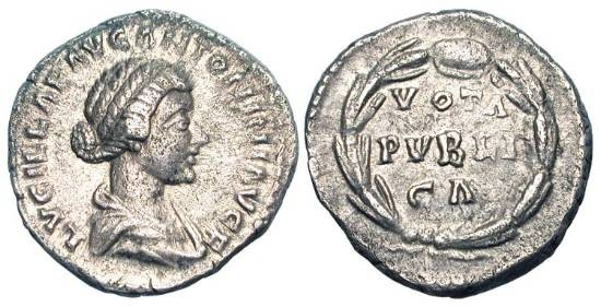 Ancient Coins - LUCILLA, wife of Verus, 161-169 AD.  AR Denarius (3.40 gm).  Draped bust / Votive inscription in wreath.  RIC.791(S).  Toned aXF.  Scarce.