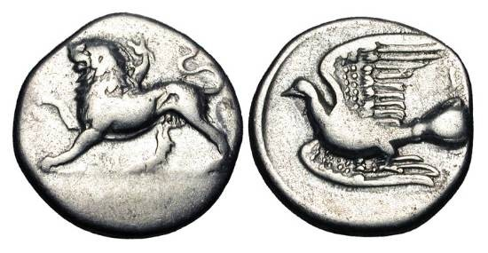 Ancient Coins - SIKYONIA, Sikyon.  330-280 BC.  AR Triobol (2.78 gm).  Chimaera walking left / Dove flying left.  BCD.288.3.  aVF.