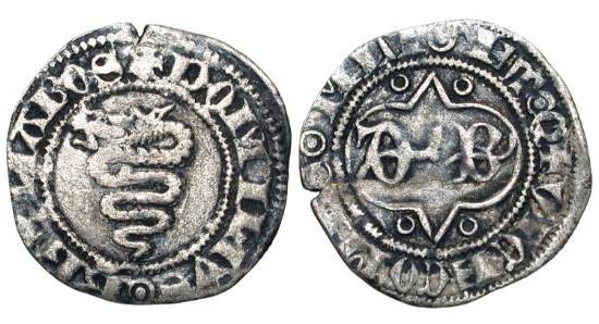 World Coins - ITALY, Milan.  Barnabo Visconti, 1354-1385 AD. AR Sesino (1.00 gm).  Biscia / D B in tressure.  B.1469.   N&V.93.  Cr.5.  Toned VF.