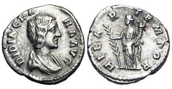 Ancient Coins - DIDIA CLARA, daughter of Didius Julianus, 193 AD. AR Denarius (2.85 gm). Draped bust/ Hilaritas standing with long palm and cornucopia.  RSC.3.  RIC.10(R4).  VF+.  Very Rare.