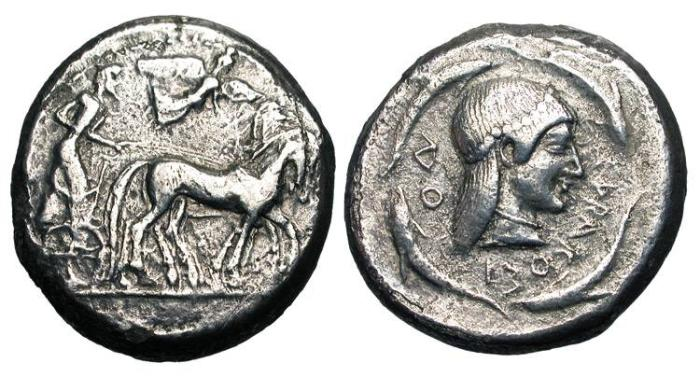 Ancient Coins - SICILY, Syracuse.  485-479 BC.  AR Tetradrachm (16.93 gm).  Slow quadriga, crowned by Nike / Head of Arethusa with long hair, four dolphins around. Boehr.102.  Toned VF  …