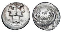 Ancient Coins - ROMAN REPUBLIC.  C. Fonteius, 114-113 BC.  AR Denarius.