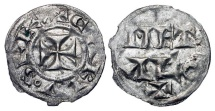 World Coins - FRANCE, Poitou.  XII Century AD.  AR Obol (0.39 gm) of Melle.  Cross, CARLVoS REX / MET ALO +.  D.915v.  Toned VF+.