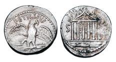 Ancient Coins - ROMAN REPUBLIC.  Petillius Capitolinus, 43 BC.  AR Denarius.