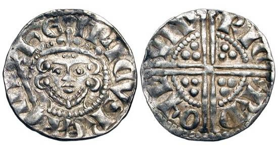World Coins - ENGLAND.  Henry III, 1216-1272 AD.  AR Penny, cl. 5c, London, RICARD.  Crowned head facing with sceptre / Long cross with three pellets in each angle.  S.1369.  Toned aXF.