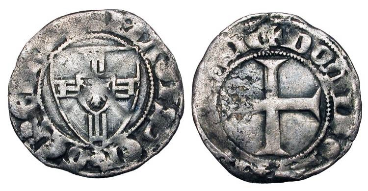 World Coins - GERMANY, Teutonic Order.  Wynrich v. Kniperode, 1351-1382 AD.  AR Vierchen.