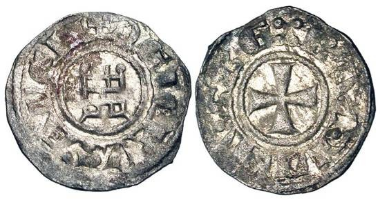 "World Coins - KINGDOM OF JERUSALEM.  Baldwin III, 1143-1161 AD.  AR Denier (0.75 gm), ""Smooth"" series. Cross / Tower of David with glacis.  MPS.16.  Toned VF+.  Rare with glacis."