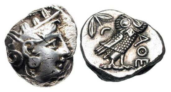 Ancient Coins - ATTICA, Athens.  300-262 BC.  AR Tetradrachm.  Helmeted head of Athena / Owl standing, olive-sprig and crescent in field.  S.2526. SNG.Cop.65.  aXF, usual elongated flan.