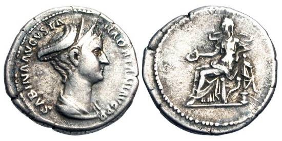 Ancient Coins - SABINA, wife of Hadrian, 117-138 AD.  AR Denarius (3.28 gm).  Diademed bust /  Concordia seated with patera and sceptre.  RIC.414(S).  Toned VF.  Scarce.