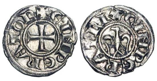 World Coins - ITALY, Sicily.  Enrico VI and Constanza d'Altavilla, 1194-1196 AD.  AR Denaro (0.84 gm) of Messina.  Cross / Eagle.  Sp.28.  MRI.55.  Toned VF+.