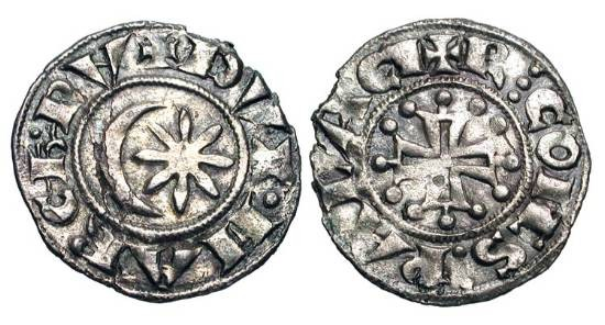 World Coins - FRANCE, Provence.  Raymond V-VI, 1148-1194-1222 AD.  AR Denier (0.82 gm).  Star and crescent / Cross with pellets.  Rob.4355.  B.785.  Toned VF+, slightly ragged flan.