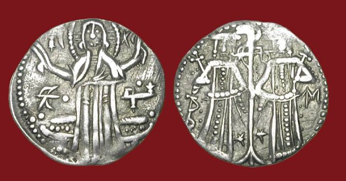 World Coins - BULGARIA.  Ivan Alexander and Mikhail Asen, 1331- 1355 AD.  AR Grosh.  Christ standing / Ivan and Mikhail.