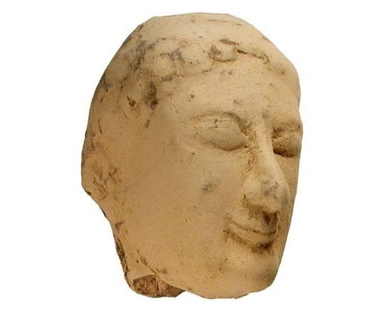 """Ancient Coins - Terracotta Female Head.   Asiatic Greece, VIII-V Century BC.  Terracotta female head with diadem.  3.5"""" tall.  Three-quarter round.  Choice."""
