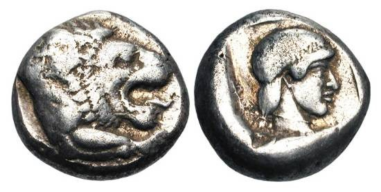 Ancient Coins - CARIA, Knidos.  405-394 BC.  AR Drachm (6.24 gm).  Head and forepaw of lion / Head of Aphrodite within incuse square.  Cahn.112 (V56/R74).  Toned VF.  Rare.