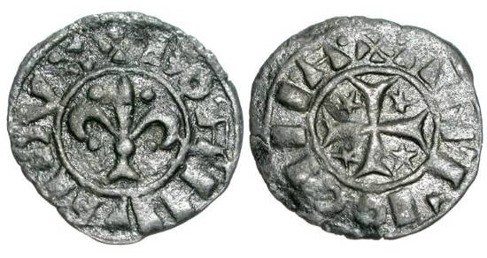 World Coins - ANTIOCH.  Bohemund IV, First Reign, 1201-1216 AD.  Æ Pougeoise.  Lis with triangular foot / Cross pattee with stars in angles.  MPS.82.  VF+.  Scarce.  ex. Lilburn collection