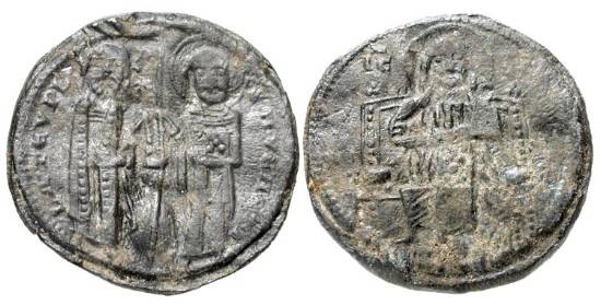 World Coins - ITALY, Venice.  Lorenzo Tiepolo, 1268-1275 AD.  Pb Trial-Strike for Grosso.  Christ enthroned facing / St. Mark presenting gonfalon to Doge.  Paol.20.1. Very Rare and interesting.