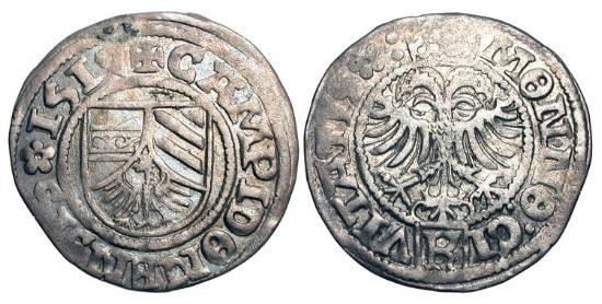 World Coins - GERMANY, Kempten.  AR Half Batzen (2.02 gm), 1517.  Shield of arms  / Crowned double-eagle.  Saur.1497.  Toned VF+.