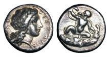 Ancient Coins - BRUTTIUM, Kroton.  ca. 390 BC.  AR Stater with Infant Herakles Strangling two Serpents.  Rare.