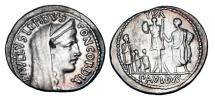 Ancient Coins - ROMAN REPUBLIC.  L. Aemilius Lepidus Paullus, 62 BC.  AR Denarius.