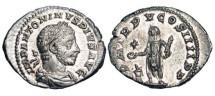 Ancient Coins - ELAGABALUS, 218-222 AD.  AR Denarius (2.89gm).  Laureate bust right / Emperor standing, sacrificing at altar.  RSC.213a.  Near Mint.