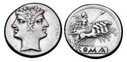 Ancient Coins - ROMAN REPUBLIC,  Anon.,  225-214  BC.   AR Quadrigatus.