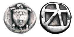 Ancient Coins - AEGINA.  480-456 BC.  AR Stater.   Sea turtle.