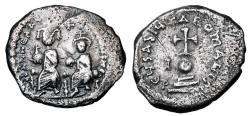 Ancient Coins - BYZANTINE EMPIRE.  Heraklios, 610-641 AD.  AR Hexagram.  ex Hoffman collection.