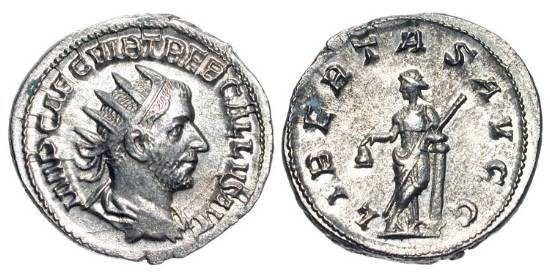 Ancient Coins - TREBONIANUS GALLUS, 251-253 AD.  AR Antoninianus (3.82 gm).  Radiate draped bust / Libertas standing with pileus and scepter, leaning on column.  RIC.39.  Near Mint.