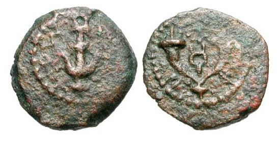 Ancient Coins - ANCIENT JUDAEA.  Herod I, the Great, 37-4 BC.  Æ Prutah (1.97 gm).  Anchor / Double cornucopiae.  Hendin.500.  VF, brown patina.